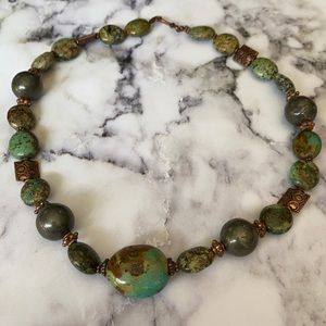 Artisan made turquoise and pyrite necklace